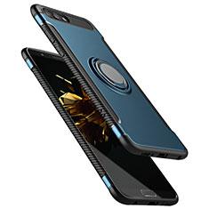 Cover Silicone e Plastica Opaca con Anello Supporto per Huawei Honor V10 Blu