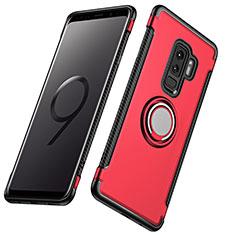Cover Silicone e Plastica Opaca con Anello Supporto per Samsung Galaxy S9 Plus Rosso