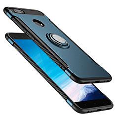 Cover Silicone e Plastica Opaca con Anello Supporto per Xiaomi Mi A1 Blu