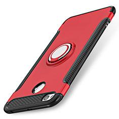 Cover Silicone e Plastica Opaca con Anello Supporto per Xiaomi Redmi 3 Pro Rosso