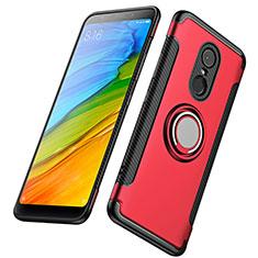 Cover Silicone e Plastica Opaca con Anello Supporto per Xiaomi Redmi 5 Plus Rosso
