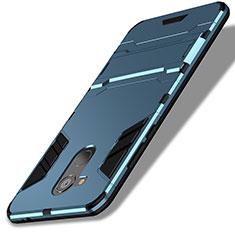 Cover Silicone e Plastica Opaca con Supporto per Huawei Honor V9 Play Blu