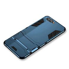 Cover Silicone e Plastica Opaca con Supporto per Huawei Nova 2S Blu