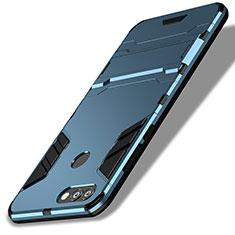 Cover Silicone e Plastica Opaca con Supporto per Huawei P Smart Blu