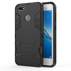 Cover Silicone e Plastica Opaca con Supporto per Huawei P9 Lite Mini Nero