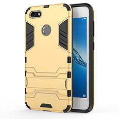 Cover Silicone e Plastica Opaca con Supporto per Huawei P9 Lite Mini Oro