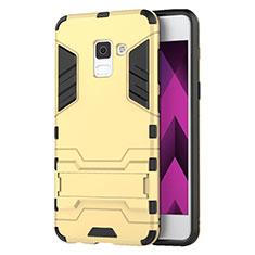 Cover Silicone e Plastica Opaca con Supporto per Samsung Galaxy A5 (2018) A530F Oro