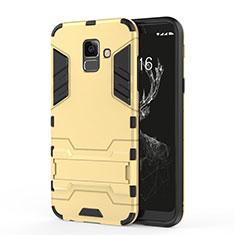 Cover Silicone e Plastica Opaca con Supporto per Samsung Galaxy A6 (2018) Dual SIM Oro