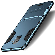 Cover Silicone e Plastica Opaca con Supporto per Samsung Galaxy A8 (2018) Duos A530F Ciano