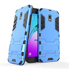 Cover Silicone e Plastica Opaca con Supporto per Samsung Galaxy Amp Prime 3 Blu