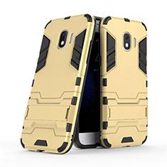 Cover Silicone e Plastica Opaca con Supporto per Samsung Galaxy J2 Pro (2018) J250F Oro