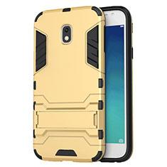 Cover Silicone e Plastica Opaca con Supporto per Samsung Galaxy J3 Star Oro
