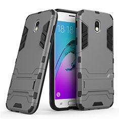 Cover Silicone e Plastica Opaca con Supporto per Samsung Galaxy J5 (2017) SM-J750F Grigio