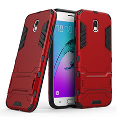 Cover Silicone e Plastica Opaca con Supporto per Samsung Galaxy J5 (2017) SM-J750F Rosso