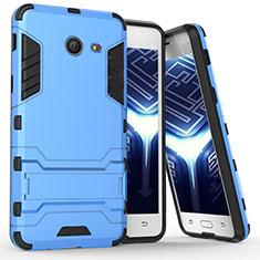 Cover Silicone e Plastica Opaca con Supporto per Samsung Galaxy J5 (2017) Version Americaine Blu