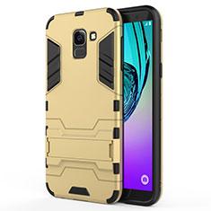 Cover Silicone e Plastica Opaca con Supporto per Samsung Galaxy J6 (2018) J600F Oro