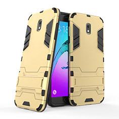 Cover Silicone e Plastica Opaca con Supporto per Samsung Galaxy J7 (2018) J737 Oro