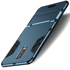 Cover Silicone e Plastica Opaca con Supporto per Samsung Galaxy J7 Plus Ciano