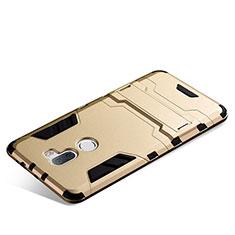 Cover Silicone e Plastica Opaca con Supporto per Xiaomi Mi 5S Plus Oro