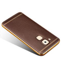 Cover Silicone Morbida In Pelle per Huawei G9 Plus Marrone