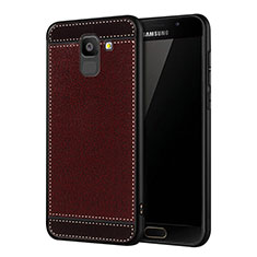 Cover Silicone Morbida In Pelle W01 per Samsung Galaxy J6 (2018) J600F Rosso