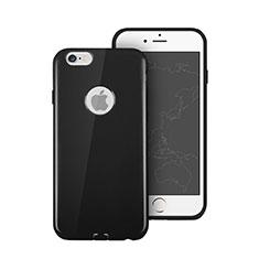 Cover Silicone Morbida Lucido con Foro per Apple iPhone 6 Plus Nero