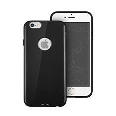 Cover Silicone Morbida Lucido con Foro per Apple iPhone 6S Nero