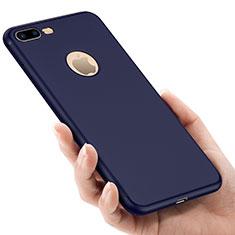 Cover Silicone Morbida Lucido con Foro per Apple iPhone 8 Plus Blu