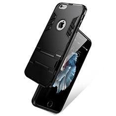 Cover Silicone Opaca con Supporto per Apple iPhone 6 Plus Nero