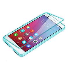Cover Silicone Trasparente A Flip Morbida per Huawei GR5 Cielo Blu