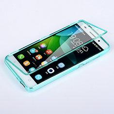 Cover Silicone Trasparente A Flip Morbida per Huawei Honor 4C Cielo Blu