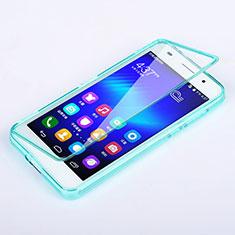 Cover Silicone Trasparente A Flip Morbida per Huawei Honor 6 Cielo Blu