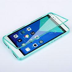 Cover Silicone Trasparente A Flip Morbida per Huawei Honor 7 Cielo Blu