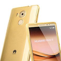 Cover Silicone Trasparente A Flip Morbida per Huawei Mate 8 Oro