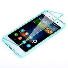 Cover Silicone Trasparente A Flip Morbida per Huawei P8 Lite Cielo Blu