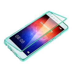 Cover Silicone Trasparente A Flip Morbida per Huawei P9 Plus Cielo Blu