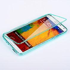 Cover Silicone Trasparente A Flip Morbida per Samsung Galaxy Note 3 N9000 Cielo Blu