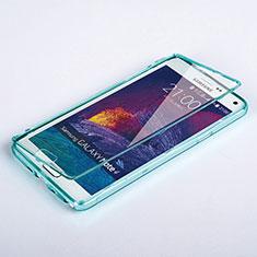 Cover Silicone Trasparente A Flip Morbida per Samsung Galaxy Note 4 Duos N9100 Dual SIM Cielo Blu