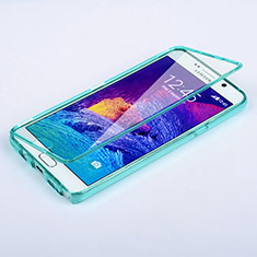 Cover Silicone Trasparente A Flip Morbida per Samsung Galaxy Note 5 N9200 N920 N920F Cielo Blu
