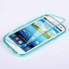 Cover Silicone Trasparente A Flip Morbida per Samsung Galaxy S3 III LTE 4G Cielo Blu