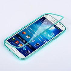 Cover Silicone Trasparente A Flip Morbida per Samsung Galaxy S4 IV Advance i9500 Cielo Blu