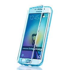 Cover Silicone Trasparente A Flip Morbida per Samsung Galaxy S6 Edge SM-G925 Blu