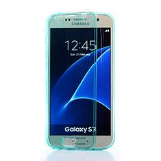 Cover Silicone Trasparente A Flip Morbida per Samsung Galaxy S7 G930F G930FD Cielo Blu