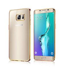 Cover Silicone Trasparente Laterale per Samsung Galaxy S6 Edge SM-G925 Oro
