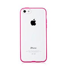 Cover Silicone Trasparente Laterale T01 per Apple iPhone 5C Rosa Caldo