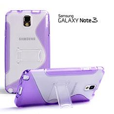 Cover Silicone Trasparente Morbida S-Line con Supporto per Samsung Galaxy Note 3 N9000 Viola