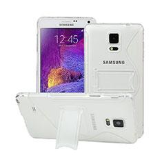 Cover Silicone Trasparente Morbida S-Line con Supporto per Samsung Galaxy Note 4 Duos N9100 Dual SIM Bianco