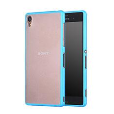 Cover Silicone Trasparente Opaca Laterale per Sony Xperia Z3 Cielo Blu