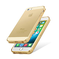 Cover Silicone Trasparente Ultra Slim Morbida HT01 per Apple iPhone 5 Oro