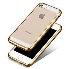 Cover Silicone Trasparente Ultra Sottile Morbida H01 per Apple iPhone 5S Oro